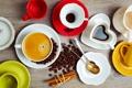 Картинка пряности, кофе, ложки, зерна, корица, чашки, палочки