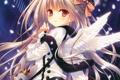Картинка снег, крылья, арт, девочка, tatekawa mako