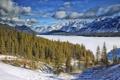 Картинка зима, лес, небо, облака, снег, пейзаж, горы