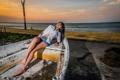 Картинка девушка, закат, лодка, азиатка