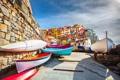 Картинка город, берег, спуск, здания, дома, лодки, Италия