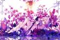 Картинка девушка, бабочки, цветы, оружие, катана, аниме, арт