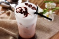 Картинка цветок, трубочка, кофе, пена, шоколад, рисунок