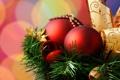 Картинка шары, елка, лента, красные, 2560x1600, золотая
