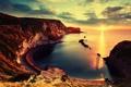 Картинка Закат, Солнце, Море, Горы