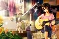 Картинка девушка, подсолнухи, комната, гитара, собака, наушники, арт