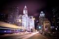Картинка ночь, город, огни, небоскребы, Чикаго, Иллиноис, Michigan