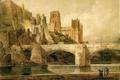 Картинка небо, облака, мост, город, река, картина, собор