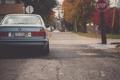 Картинка дорога, осень, BMW, сзади, silver, серебристая, E34