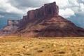 Картинка США, осень, трава, небо, скалы, долина монументов, тучи