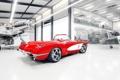 Картинка красный, тюнинг, ангар, corvette, шевроле, диски, классика