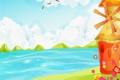 Картинка море, облака, цветы, холмы, птица, рисунок, чайка
