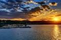 Картинка закат, природа, дома, причал, городок, Greece, вечер.