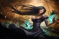 Картинка магия, Девушка, ворон