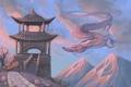 Картинка полет, горы, дракон, арт, Китай