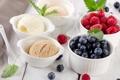 Картинка ягоды, малина, черника, мороженое, мята, десерт, сладкое