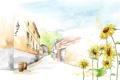 Картинка подсолнухи, цветы, улица, рисунок, дома, акварель, фонарики