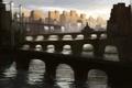 Картинка вода, мост, город, река, арт, арки, водопады