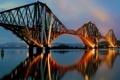 Картинка мост, город, отражение, река, подсветка, сумерки