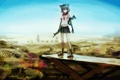 Картинка небо, девушка, пейзаж, оружие, башня, аниме, арт