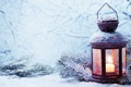Картинка зима, снег, свеча, фонарь, Новый год, new year, winter