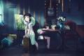 Картинка цветы, часы, картина, две девушки, рюкзак