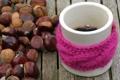 Картинка Кофе, кружка, орехи, розовая повязка