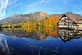 Картинка осень, природа, горы, отражение, дом, озеро
