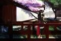 Картинка девушка, мост, ручей, дерево, меч, сакура, арт