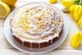 Картинка цветы, еда, тюльпаны, торт, пирожное, cake, десерт