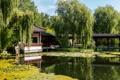 Картинка деревья, пруд, парк, отражение, Германия, пагода, солнечно