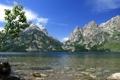 Картинка небо, горы, озеро, камни, США, солнечно, Wyoming