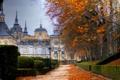 Картинка осень, фонари, аллея, дворец