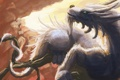 Картинка скалы, дракон, ветка, перья, арт, хвост, рога
