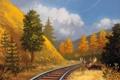 Картинка лес, природа, арт, железная дорога, рога, лось
