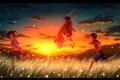 Картинка небо, трава, облака, закат, горы, природа, дети