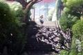 Картинка деревья, девушки, провода, аниме, лепестки, сакура, арт