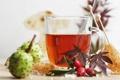 Картинка листья, чай, шиповник, сладости, каштан