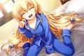 Картинка взгляд, девушка, радость, постель, пижама, art, tomose shunsaku