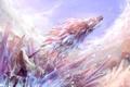 Картинка лед, небо, оружие, девушки, дракон, меч, аниме