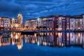Картинка ночной город, здания, дома, Florida, лодки, огни, Orlando