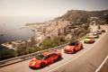 Картинка море, город, яхты, Lamborghini, Ferrari, Nissan, супер