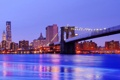 Картинка вода, ночь, мост, город, lights, огни, небоскрёбы