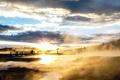 Картинка пейзаж, закат, туман, озеро, фото, мостик
