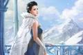 Картинка зима, девушка, снег, горы, снежные