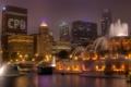 Картинка ночь, город, огни, небоскребы, Чикаго, фонтан, США