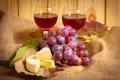 Картинка листья, бумага, вино, сыр, бокалы, виноград, ткань