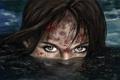 Картинка глаза, взгляд, вода, девушка, лицо, кровь, грязь