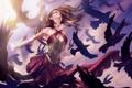 Картинка девушка, птицы, узор, арт, вороны, повязка, раскраска