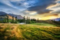 Картинка закат, горы, пруд, Новая Зеландия, луг, New Zealand